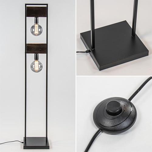 Industrieel landelijke vloerlamp mat zwart met hout