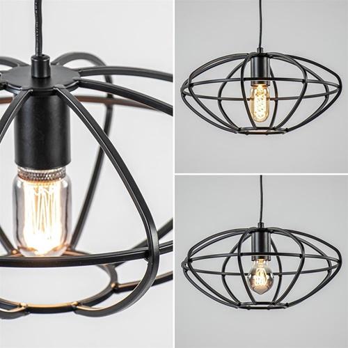 Zwart metalen hanglamp ovaal