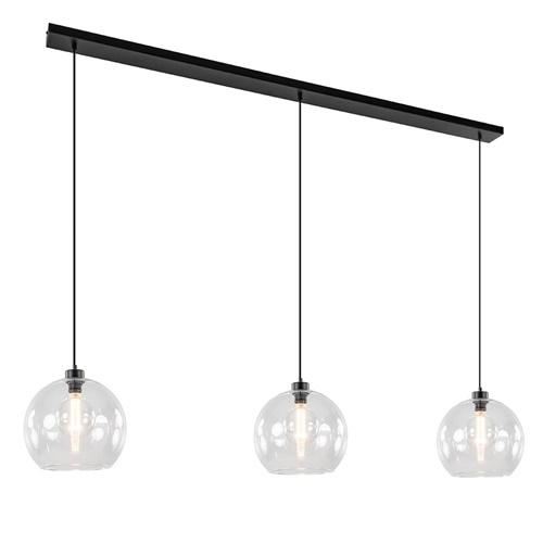 Grote 3-lichts hanglamp met helder glas en zwarte balk