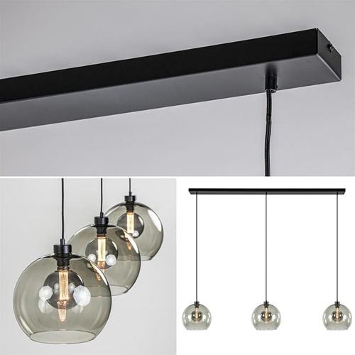 3-Lichts eettafelhanglamp met smoke glazen bollen