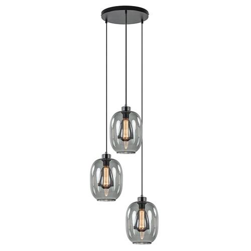 Ronde 3-lichts hanglamp met donker smoke glas