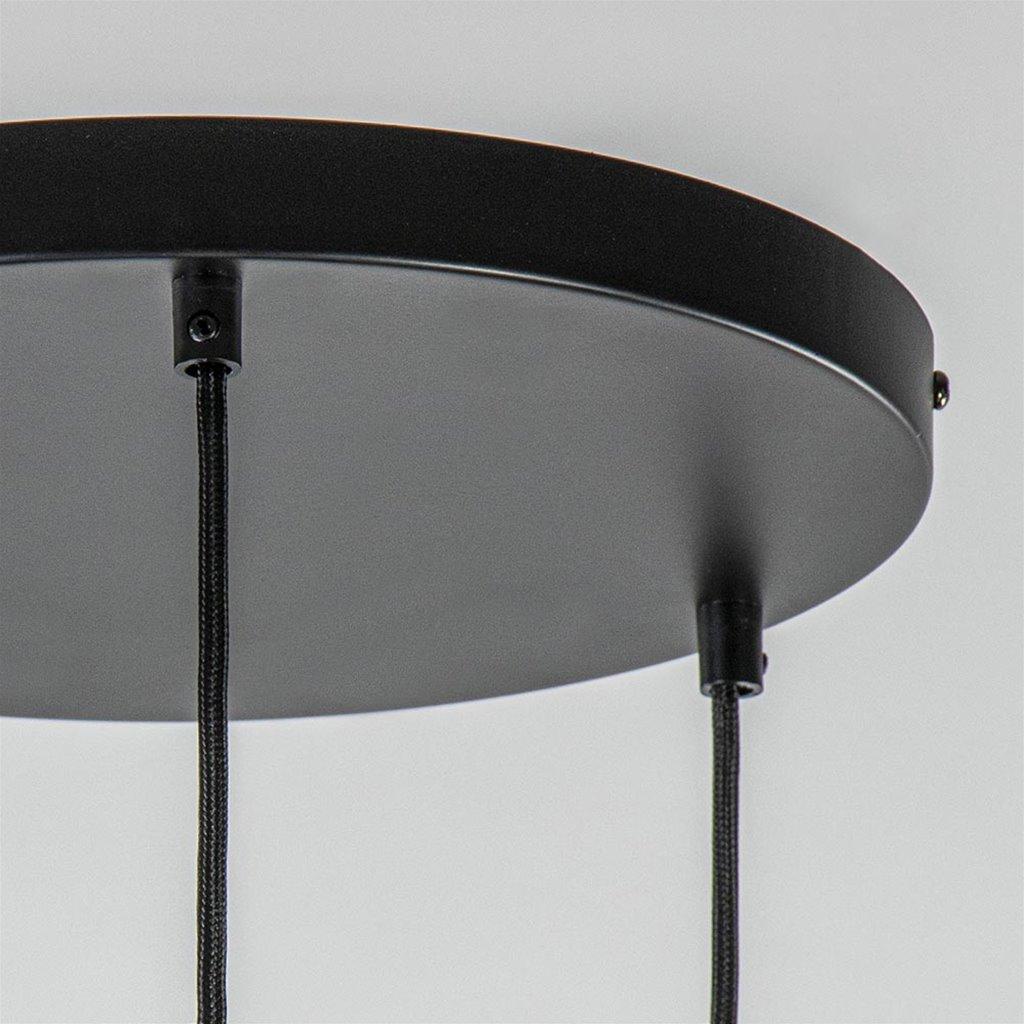 Strak-klassieke hanglamp met smoke glas 3-lichts
