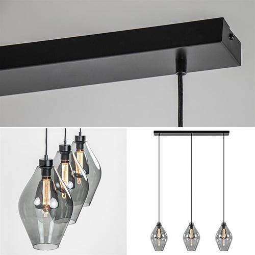 Hanglamp 3L balk zwart + diabolo smoke