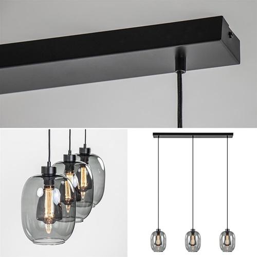 Strak-klassieke hanglamp zwart met smoke glas