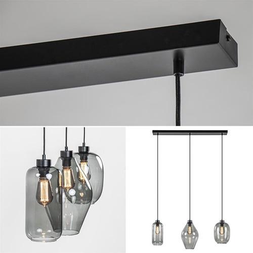 3-Lichts hanglamp balk mat zwart met gemixt smoke glas