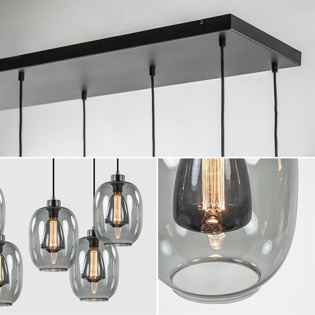 Strak klassieke 8-lichts eettafelhanglamp / multipendel  met smoke glas