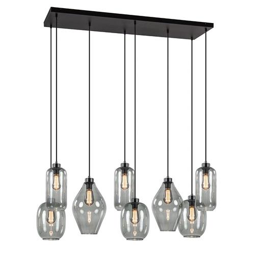 Luxe 8-lichts multipendel/ hanglamp met gemixt smoke glas