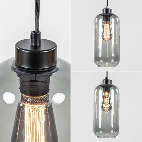 Kleine hanglamp zwart met smoke glazen cilinders