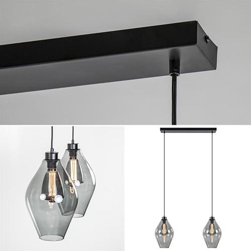 Moderne 2-lichts hanglamp met ruit-vormig smoke glas