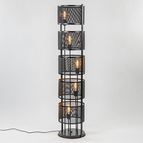 Grote vloerlamp cilinder met zwart gaas 5-lichts