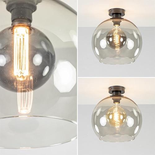 Trendy plafondlamp globe smoke glas 30cm