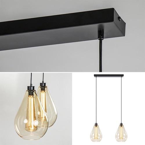Strak klassieke 2-lichts hanglamp met amber glas