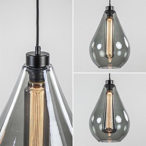 2-Lichts hanglamp smoke glazen druppel