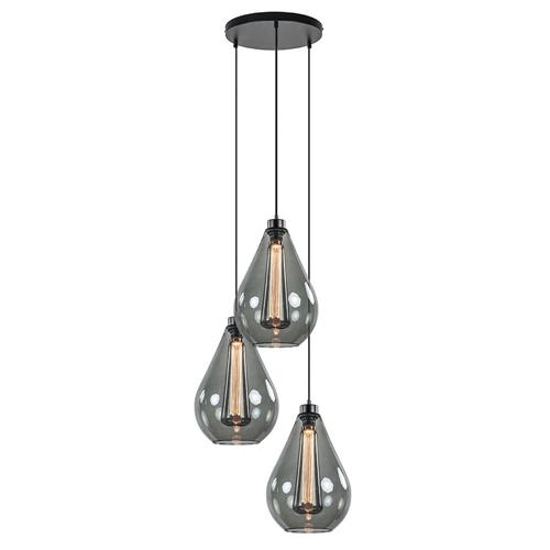 3-Lichts hanglamp smoke druppel rond