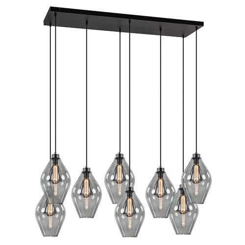 Grote 8-lichts multipendel hanglamp smoke glas ruit
