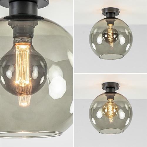 Smoke glazen plafondlamp globe 25 cm