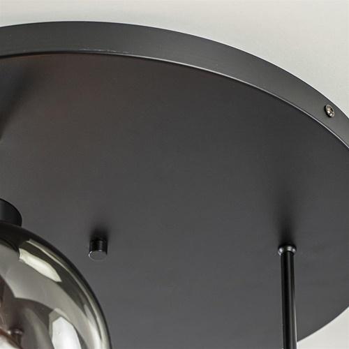 3-Lichts ronde plafondlamp met smoke glazen bollen