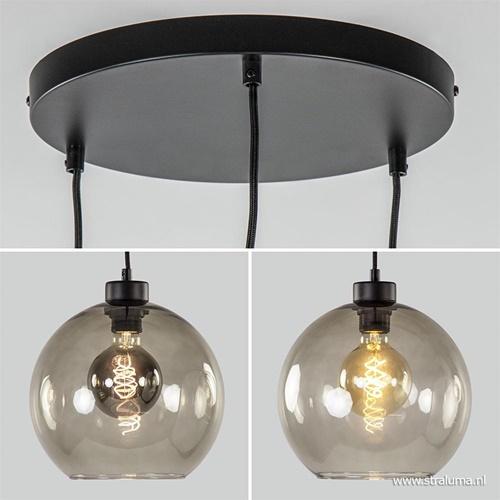 Hanglamp 3-lichts rond glas smoke 25 cm