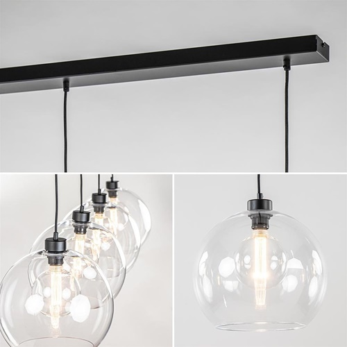 Grote 4-lichts hanglamp zwart met helder glazen bollen