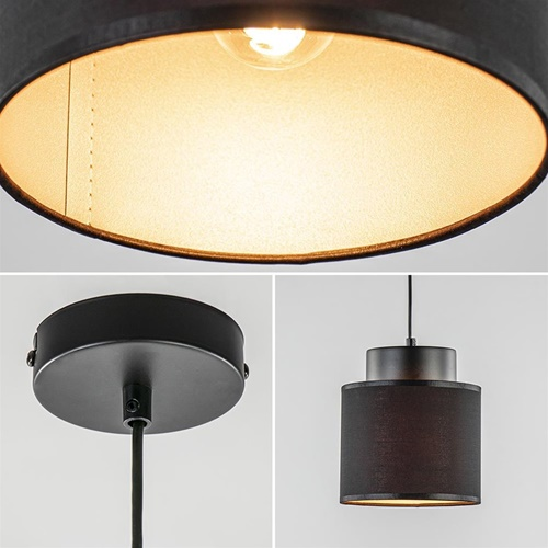 Kleine hanglamp zwarte kap met gouden binnenzijde