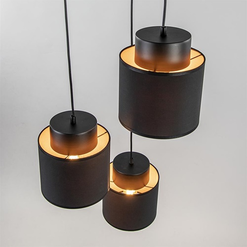 Chique hanglamp 3-lichts zwart/goud rond