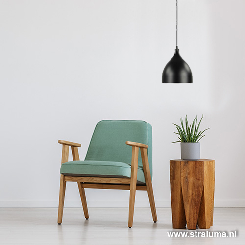 Kleine hanglamp zwart keuken bar hal wc straluma for Kleine industriele hanglamp
