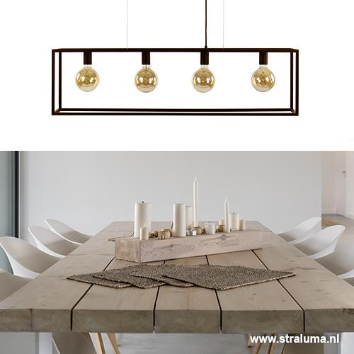 Strak klassieke eetkamer hanglamp bruin | Straluma