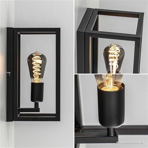Stoere moderne wandlamp zwart frame straluma - Schwarze duscharmatur ...