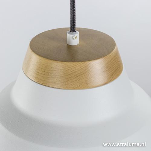 industriele hanglamp wit met hout straluma