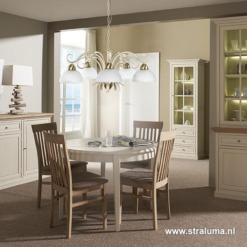 Klassieke hanglamp creme goud eettafel straluma for Klassieke hanglamp