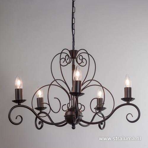 Klassieke hanglamp kroon bruin 5 lichts straluma for Klassieke hanglamp