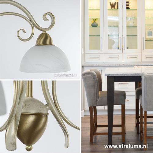 klassieke hanglamp creme goud woonkamer straluma