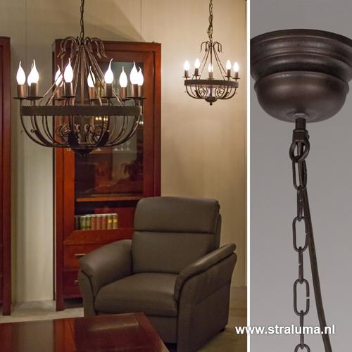 Landelijke kroonluchter-hanglamp bruin | Straluma