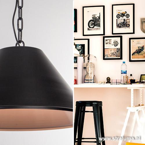 Grote eettafel hanglamp zwart 2 koepels straluma for Grote hanglamp eettafel