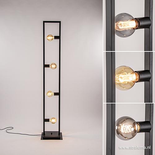 Zwarte Metalen Vloerlamp Open Frame Straluma