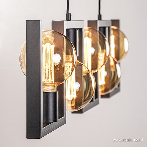 Metalen eettafel hanglamp zwart frame straluma for Hanglamp eettafel