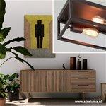 *Bruine wand-plafondlamp landelijk frame
