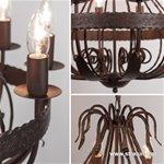 *Landelijke kroonluchter-hanglamp bruin