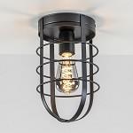 Moderne plafondlamp zwart kooi