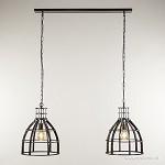 Metalen eettafel hanglamp 2-lichts kooi