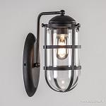 Wandlamp kooi zwart + helder glas h=28cm