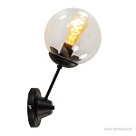 Retro wandlamp zwart met glas