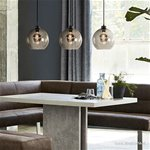 Glazen eettafel hanglamp 3-lichts smoke