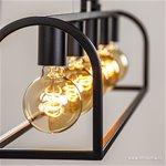 Zwarte eettafelhanglamp frame landelijk