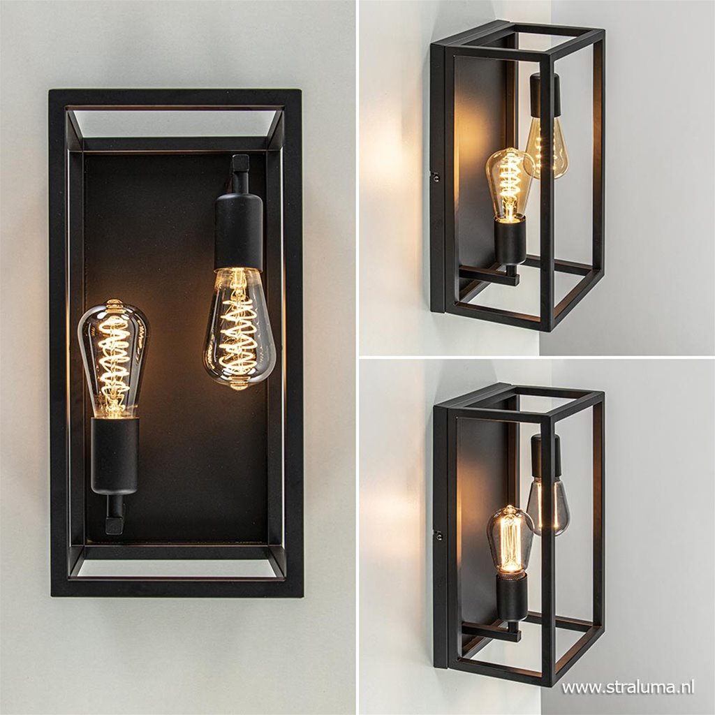 Zwarte wand-plafondlamp modern hal/gang
