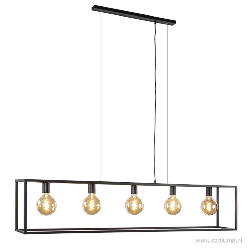 Grote eettafel hanglamp zwart balk