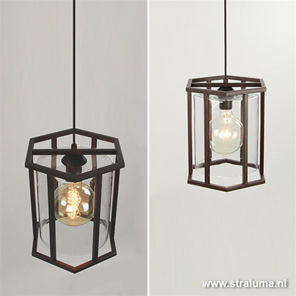 **Landelijke lantaarn bruin frame/glas