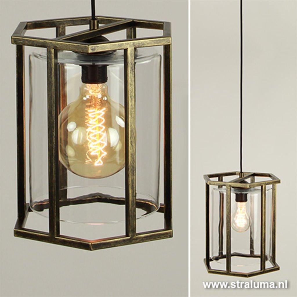 Lantaarn antiek goud 6-kantig met glas