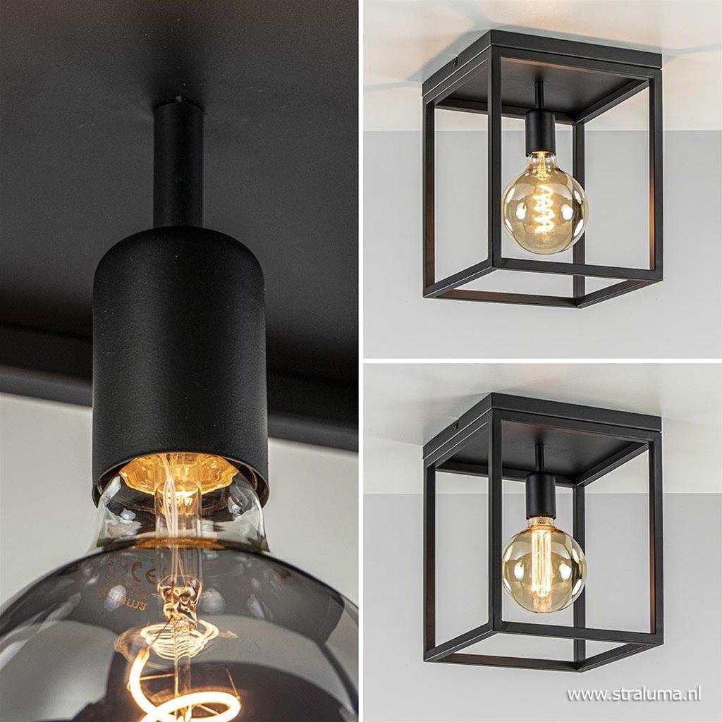 Plafondlamp open frame zwart vierkant