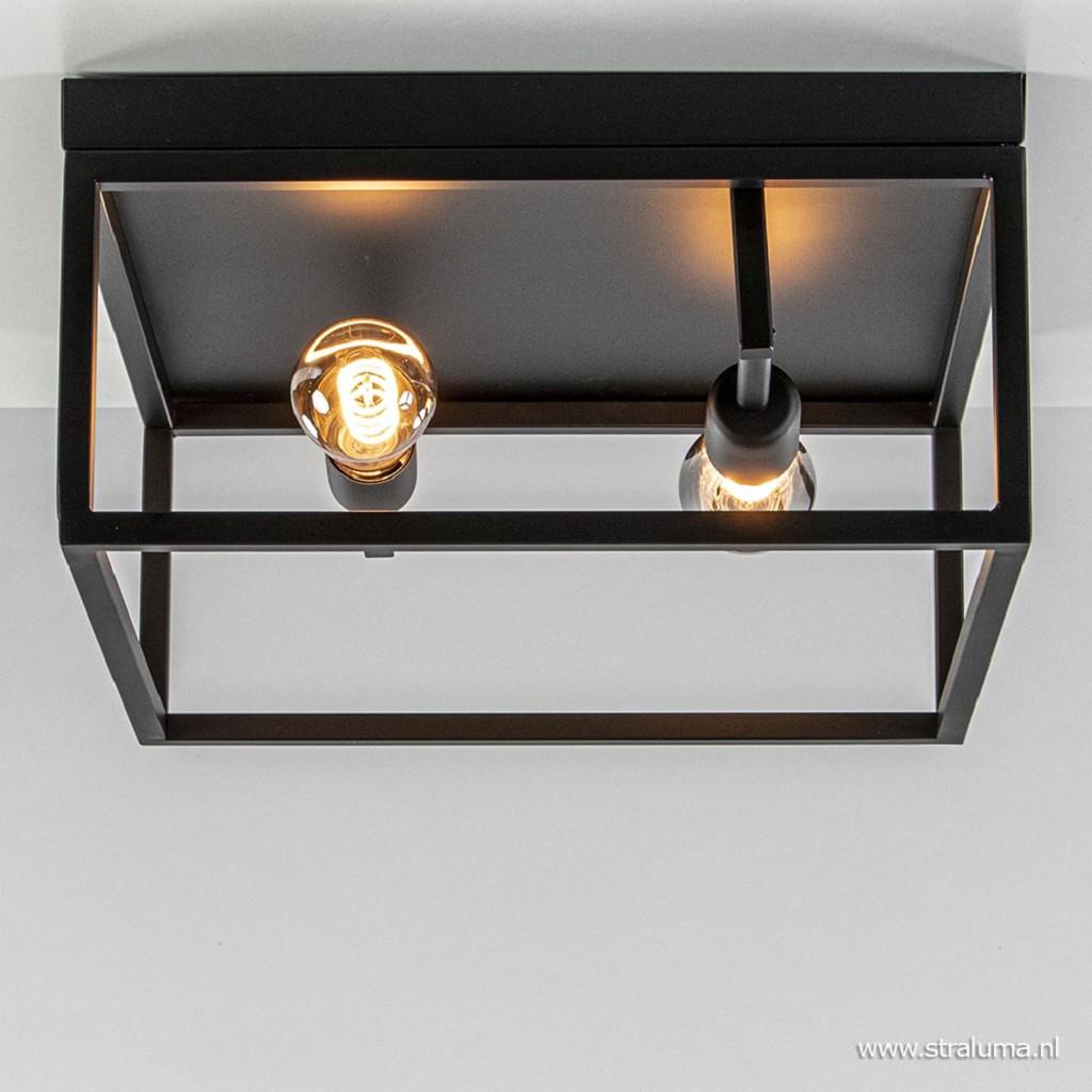 Vierkante plafondlamp frame zwart